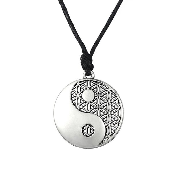 Supernatural Knot Male Flower of Life Necklace Men Pendant Egyptian Jewelry Tai Chi Mandala Women Collar Silver Plated Free Shipping