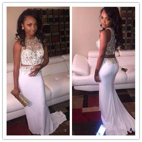 Elegant White Mermaid Two Piece Prom Dresses Jewel Beading Crystal Trumpet Arabic Occasion Women Formal Evening Party Pageant Gown