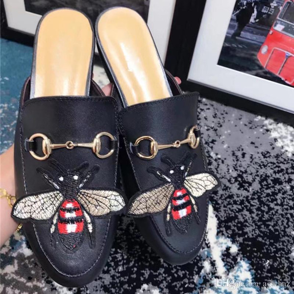1dc712311f18 2017 Luxury Brand Women Bee Slippers Genuine Leather Mules Shoes European  Fashion Scuffs Shoes Embroidery Flats Free Shipping M21