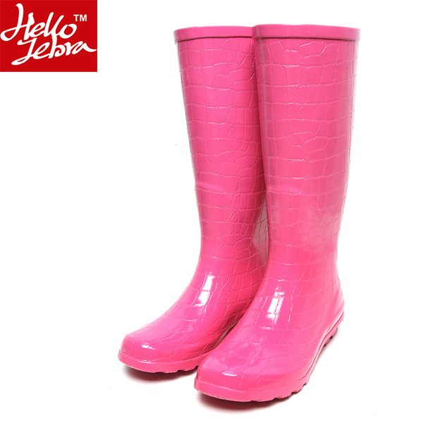 Women Rain Boots Fashion Knee high 2016 Pink Crocodile Pattern Rain Shoes Girl Summer Rubber Waterproof Rainboots Ladies Shoes Pink Women
