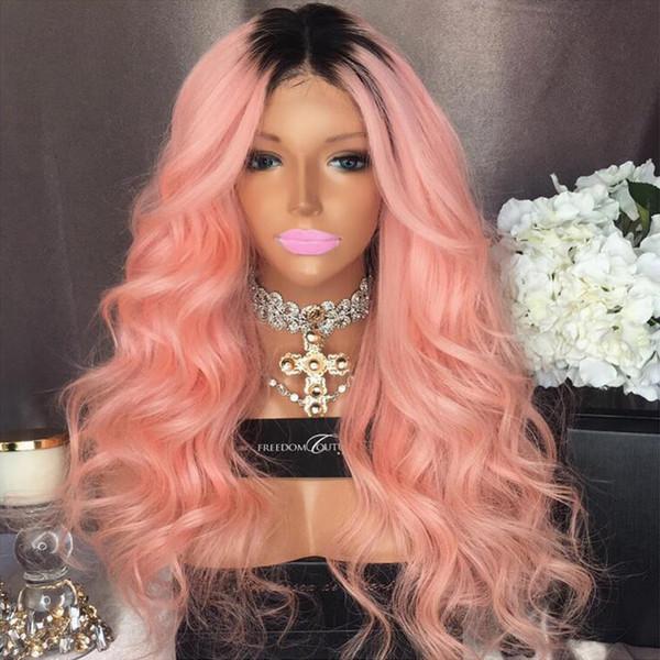 Parrucche piene del merletto dei capelli umani Ombre Two Tone T1B / rosa ondulata naturale Hairline capelli vergini brasiliani 150 Densità anteriore del merletto Parrucche nodi candeggiati