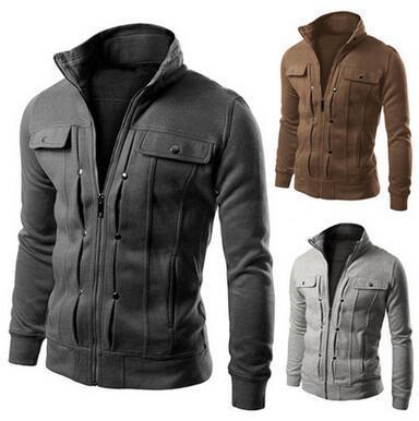 Men Fashion Casual Coat Cardigan Cotton Hoodies Zipped Hoodies Student Teenager Loose Stand Collar Sweatshirts Coat Jacket High Quality