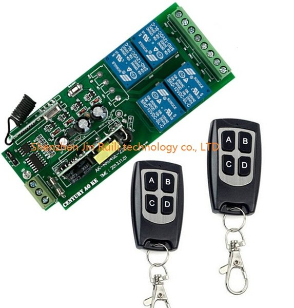 Wholesale-85v ~ 250 V 110 V 220 V 230 V 4CH RF Drahtlose Fernbedienung Relaisschalter Sicherheitssystem Garage Türen Rolltor Elektrische Türen