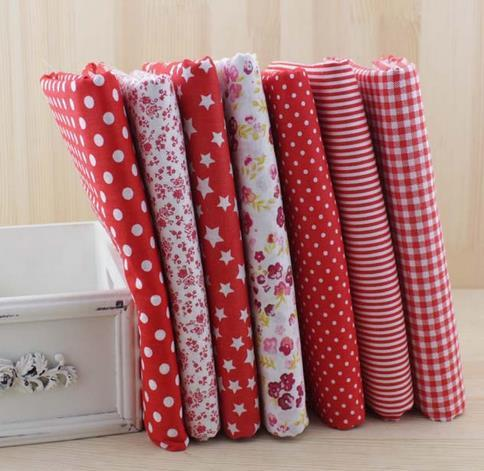 7Pcs Cotton Flower Polka Dots Pre Cut DIY Handmade Decor Charm Cloth Squares Quilt Household Sewing Fabrics Textiles
