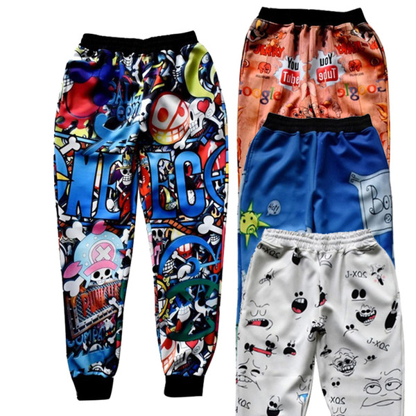 Wholesale- Raisevern 2016 New Men Women Joggers Pants 3D Graphic Cartoon Anime Character Print Sweatpants Fashion Hip Hop Trousers Dropship