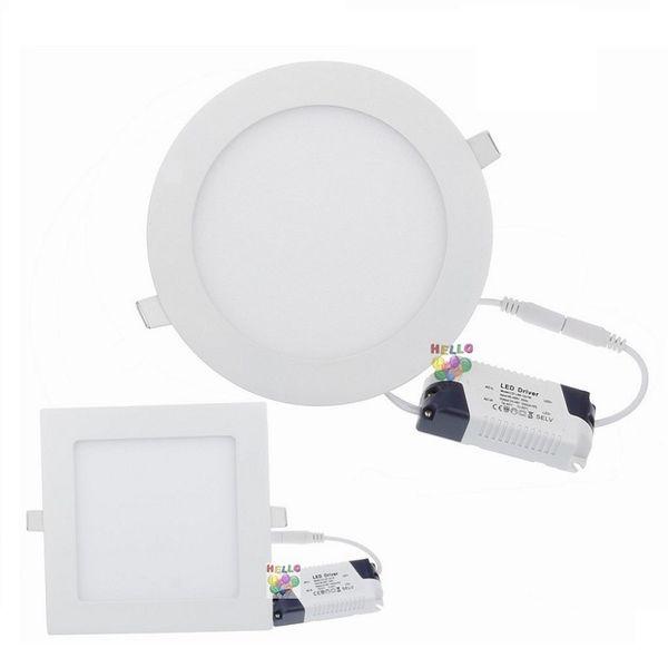 9W / 12W / 15W / 18W / 21W Dimmable luces del panel LED Reflectores empotrados Lámpara redonda / Cuadrada Luces LED para luces de interior 85-265V + Led Driver