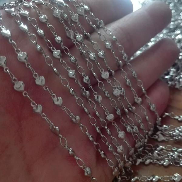 Nueva lista a granel 10meter Lote de plata TOne Joyería de acero inoxidable encontrar Corazón de lazos de la cadena de mujeres DIY Collar