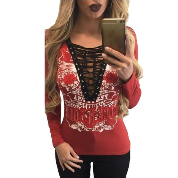Wholesale- Women T-Shirt Deep V Neck Lace Up Long Sleeve Tops Tee Women Casual Sexy Club Tops Spring 2017 Women Bandage Clothes LJ7381C
