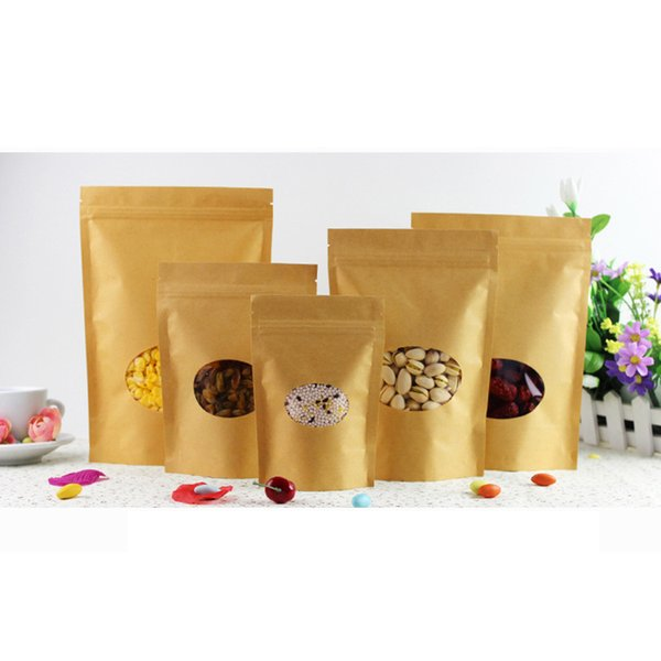 Full set sample food grade packaging HD clear plastic round window resealable zip lock standup brown dongguan kraft paper bag