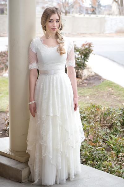 Abiti da sposa a-line modellanti pizzo vintage con maniche Abiti da sposa bohemien Abito da sposa da sposa rustico