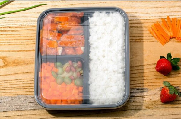 3 Compartment Reusable Food Storage Containers with Lids, Microwave and Dishwasher Safe, Bento Lunch Box, Stackable, Set of 12