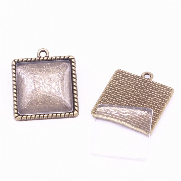 top popular 10set Antique Bronze Square 24*27mm(Fit 20*20mm dia) Pendant Blanks Fit Jewelry Making Charms + Clear Glass Cabochons A4703-1 2019