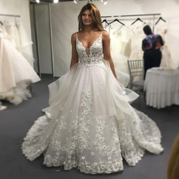 Vinca Sunny Lace Wedding Dresses 2017 Sexy Backless V Neck Applique ...