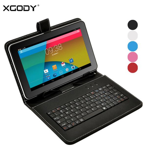 Al por mayor-XGODY T93Q 9 pulgadas Tablet PC Android 4.4 AllWinner A33 Quad Core 1.3GHz 512MB RAM 8GB ROM WiFi + caja del teclado