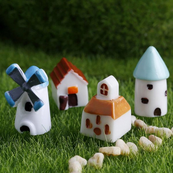 4Pcs Mini Resin Church Castle Windmill Shed Cabin House Fairy Garden Miniature Craft Micro Cottage Landscape Decoration