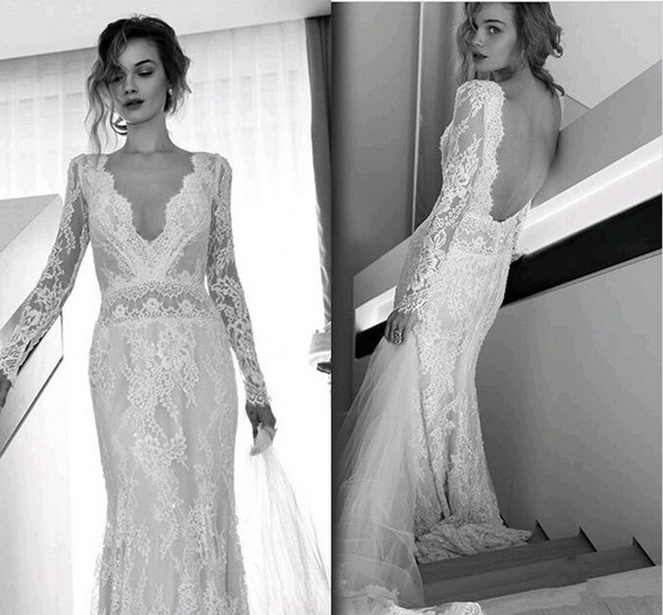 top popular Lihi Hod Bohemian Beach Wedding Dresses Full Lace Long Sleeves Sexy V Neck Sweep Train Bridal Gowns Custom Made Open Back 2019 Hot Sale 2019