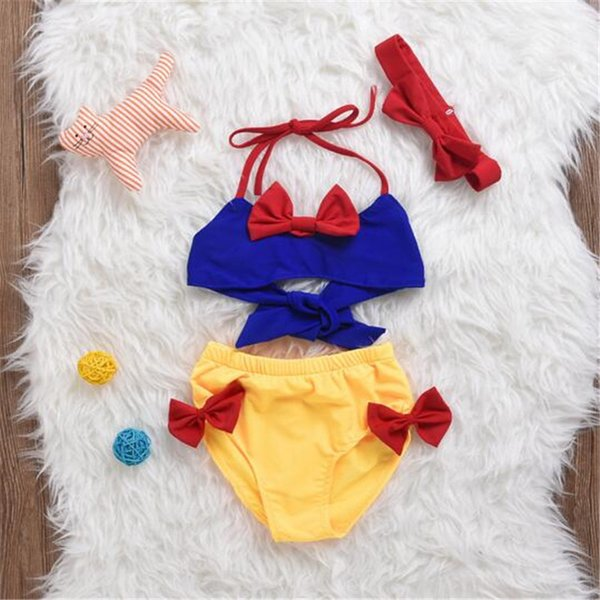 DHL Baby Girls Swimwear Set 2017 Summer Set Infants Bow Headband Three Piece Swimsuit Kids Clothing Gift
