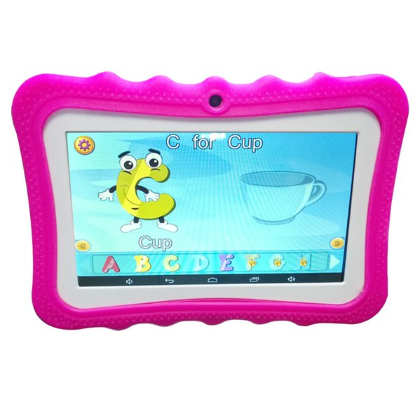 NEW Cheap 7 inch Children's tablet Quad Core Allwinner A33 Android 4.4 KitKat Capacitive 1.5GHz 512MB 8GB Dual Camera with Silica case