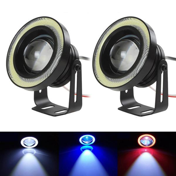 DRL Daytime Running Light Universal Angel Eyes niebla lámpara COB llevó la lámpara de la bombilla 6 colores para el coche Auto