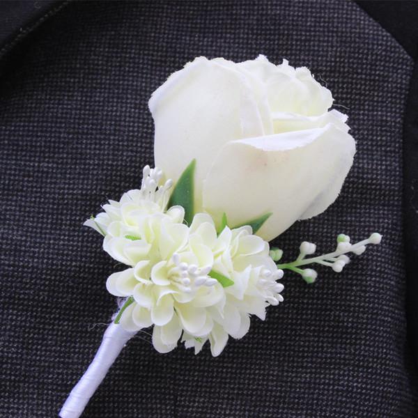 Al por mayor-Mejor hombre boda Boutonniere en Ivory Purple White Blue10 Color Aavailable novio broche Rose Ramillete traje accesorios de flores