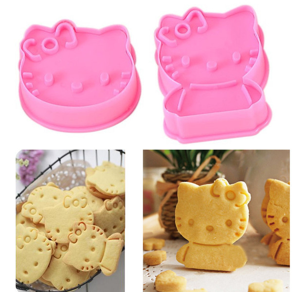 Wholesale- 2PCS/Lot 3D Cat Classic Cartoon Shape Cake Mold For Kids Christmas Gifts Cookie Mould Baking Cutter Biscuits Mold DIY Tools
