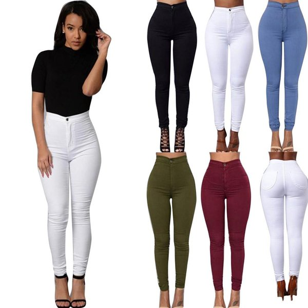 Women Denim Jeans New Multi Colors Girl Casual Autumn Solid Pencil Slim Skinny Jeans Plus Size