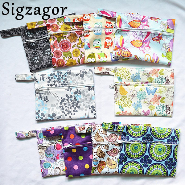 top popular [Sigzagor]Small Mini Wet Bag Reusable for Mama Cloth Sanitary Menstrual Maternity Pad,Tampon,Cup Bib,Buyer PICK,29 Designs 2021