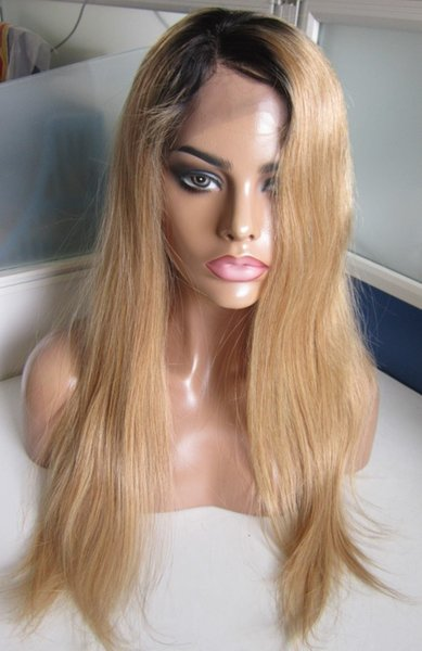 High quality unprocessed ombre color #1b/27 full lace wig straight brazilian virgin human hair lace front wig free shipping
