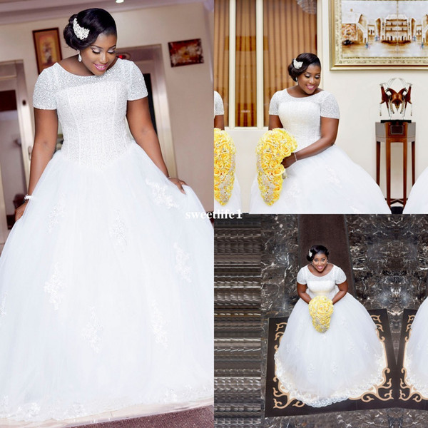 White Ball Gown African Wedding Dresses With Short Sleeves Heavy Beading Sequins 2017 Princess Custom Made Bride Bridal Gown Plus Size