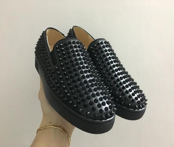 2019 Дизайнерская мода Red Bottoms shoes Шипованные Шипы Плоские кроссовки Для Мужчин Женщ
