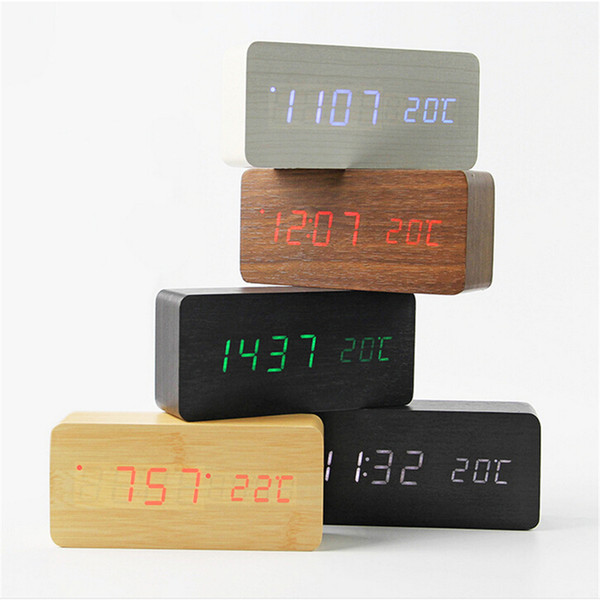 Madeira LED despertador com Old Style Temperatura Soa controle de calendário Display LED Eletrônica Digital Desktop relógios de mesa