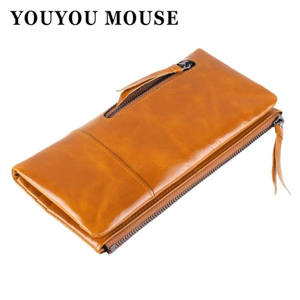 YOUYOU MOUSE Cowhide Women Wallets 100% Genuine Leather Korean Vintage Oil Wax Paper Wallets Fashion Splice Clutch Creative Bag