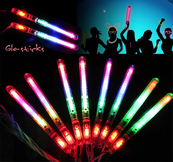 LED Modo de flash de color Palo de neón Luz Glow Stick Fiesta de fiesta del festival de fiesta de navidad festival Campamento novedad juguetes