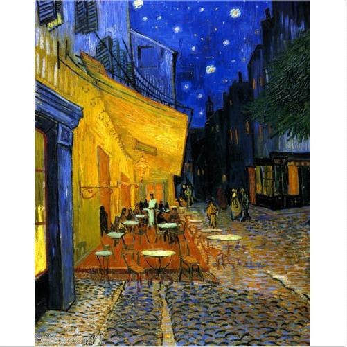 Framed Pure Handpainted Van Gogh CAFE TERRACE Fine Abstract Landscape Art Oil Painting,on High Quality Canvas Home Wall Decor Multiple sizes