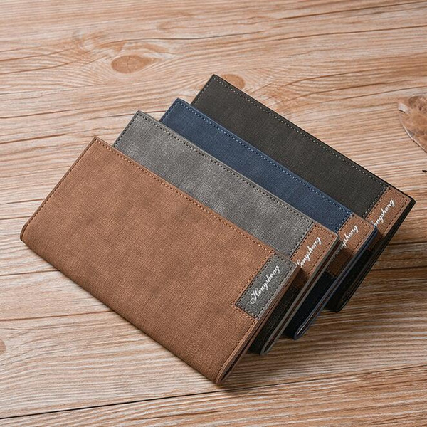Mens long wallet packs ultra - thin young men' s matte leather wallet multi - functional soft leather wallet