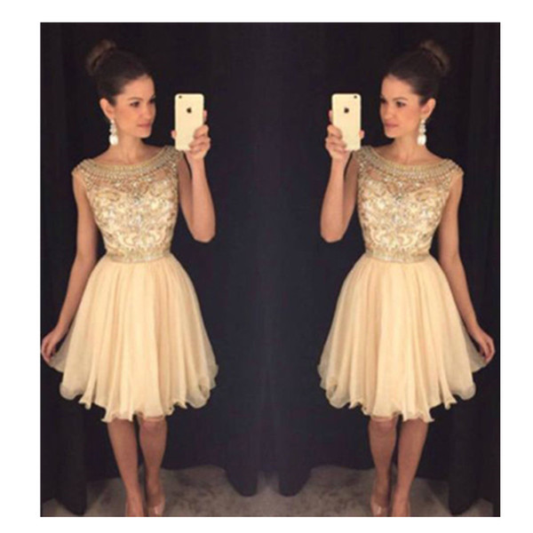 champagne short cocktail dress 2019 new cap sleeve chiffon crystal formal homecoming gowns sparkly custom made scoop beads draped fashion