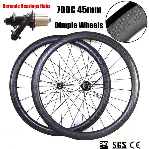 Seramik Rulmanlar Hub Gamze Tekerlekler 700C 50mm Derinlik 25mm Genişlik Tam Karbon Bisiklet Bisiklet Tekerlekleri Tekerlek UD Gariplik Boru 20/24 konuşmacı
