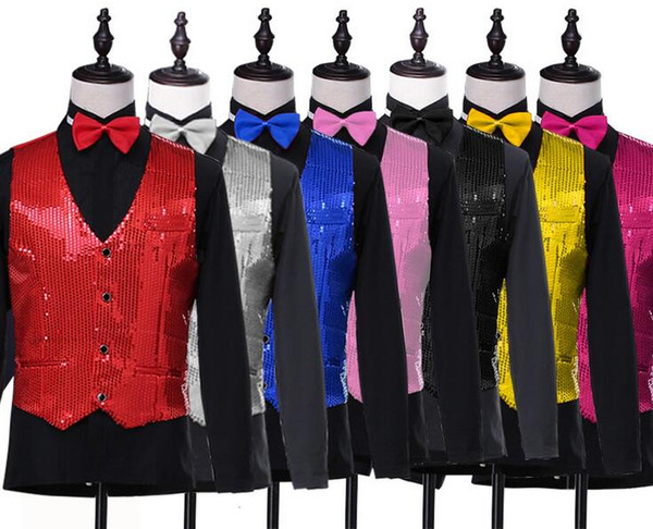 top popular New Mens Fashion Sequins Slim Waistcoat Stage Performances Vest Sleeveless Jacket Stage Show Clothes For Mens B532 2019