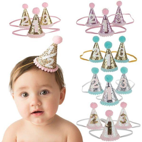 Bebe Fascia Bellissimi bambini New Crown Festa di compleanno Cono Hairband Ragazze Sparkle Fasce dorate Accessori per capelli per bambini