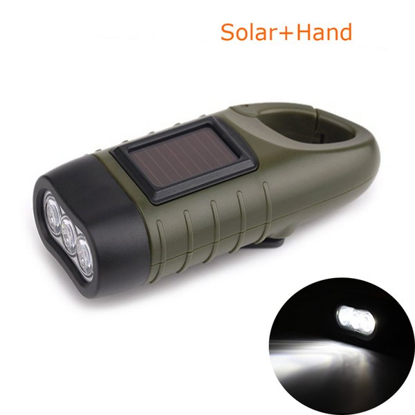 Manual Dynamo LED Flashlights Multifunction Carabiner Solar Energy Self-generating Rechargeable Torch Led Camping Hiking Clambing Lantern Fl