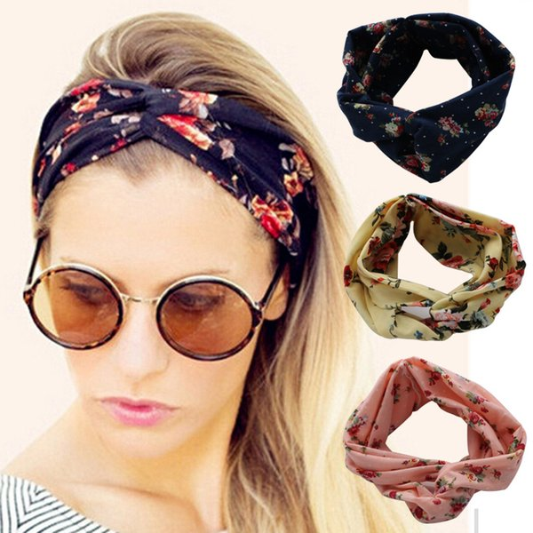 Fashion Retro Women Elastic Turban Twisted Knotted Ethnic Headband Floral Wide Stretch 2017 Girl Yoga Hair Accessories 13 colors