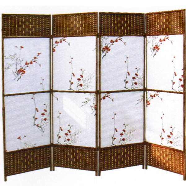 Decorative Freestanding Black & Brown Woven Design 4 Panel Wood Privacy Room Divider Folding Screen no3