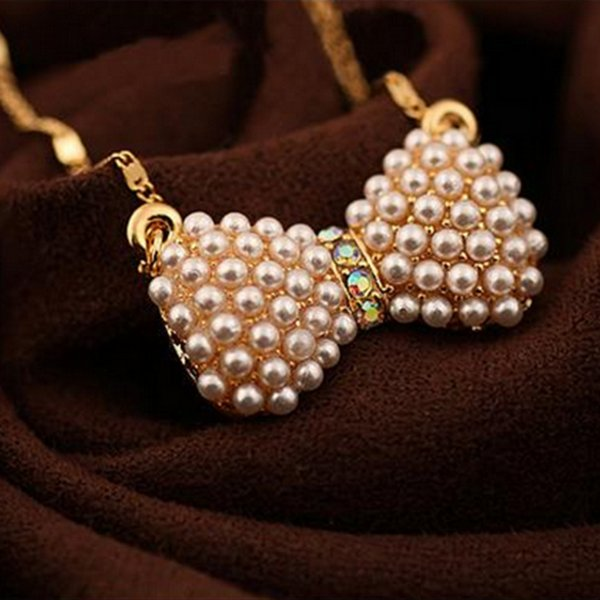 NEW ! Hottest Korean Style Elegant Lovely Bow Pearl Pendant Alloy Necklace Sweater Chain Jewelry As Gift