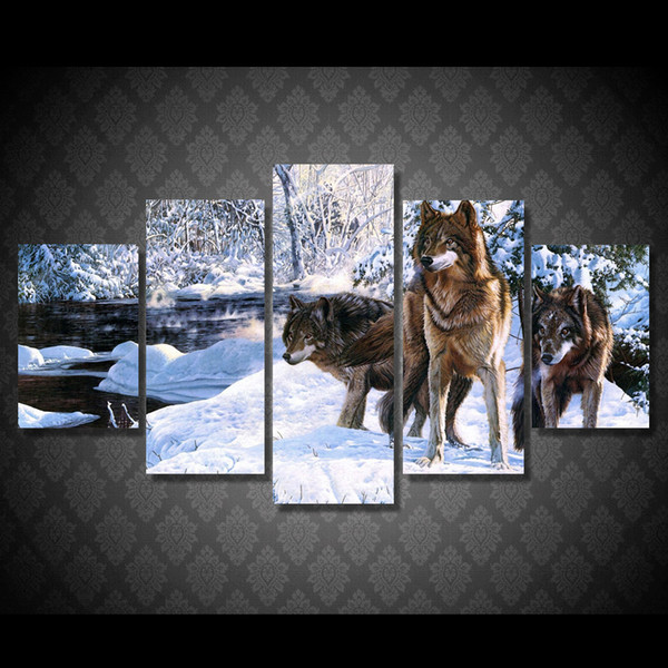 5 Pcs/Set Framed HD Printed Snow Wolf Ice Lake Animal Wall Art Canvas Print Poster Canvas Pictures Oil Painting Artworks