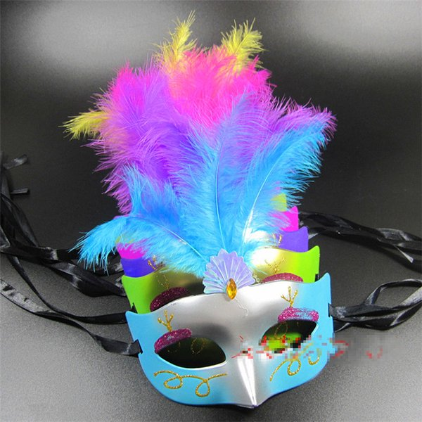 Masquerade Mask For Festive Day Venice Feather Lace Costume Ball Facepiece Painted Beauty Princess Masks Hot Sale