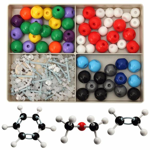 Venta al por mayor-Venta caliente 240Pcs Atom Molecular Models Kit Set General Química orgánica Científico Aprendizaje infantil Juego de juguetes educativos
