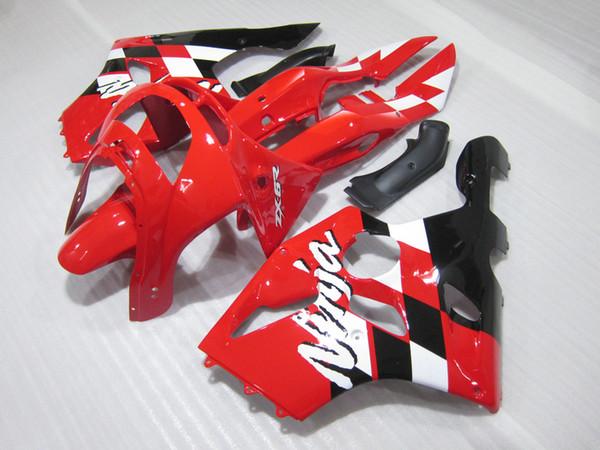 Personalice la carrocería de carenado para Kawasaki ZX 6R 1994 1995 1996 1997 rojo blanco negro NINJA zx6r 94-97 ABS kit de carenado HK20