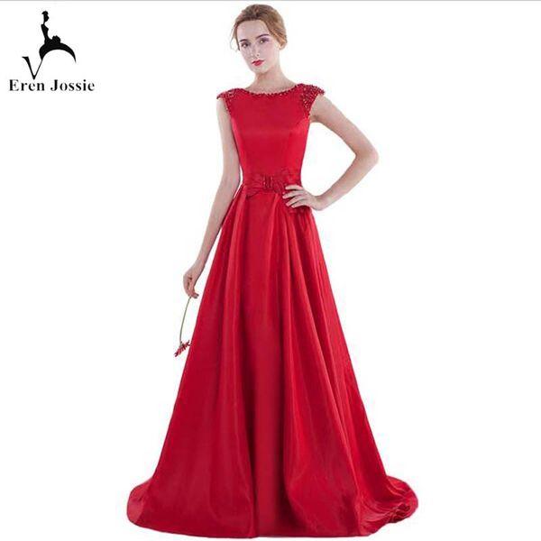 Kırmızı Saten Moda Ziyafet Elbisesi Boncuklu Boyun Çizgisi Cap Sleeve Bayanlar A-line Bandaj Abiye Mezuniyet Partisi Elbisesi