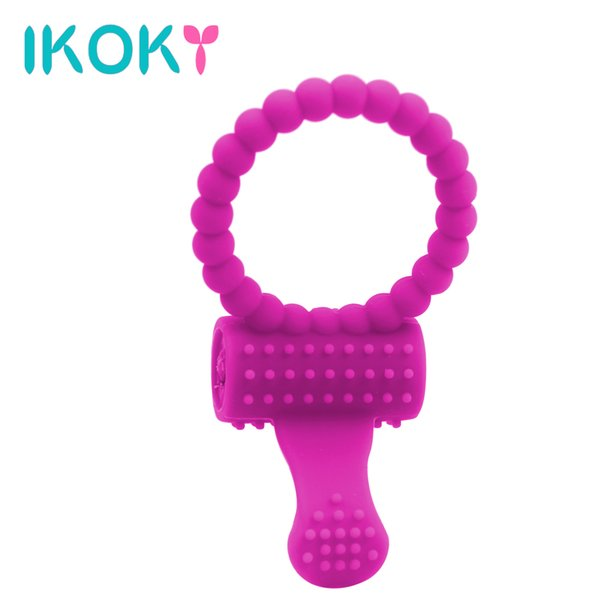 Wholesale- IKOKY Delay Rings Sex Products For Men Dildo vibrator Cock Rings Silicone Tongue Ring Vibration Penis Rings G-Spot Massager