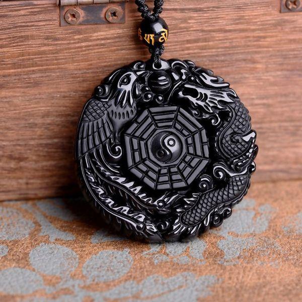 Venda por atacado - Drop Shipping Preto Obsidian Carving Dragon e Phoenix Colar Pingente Obsidian Sorte Pingentes
